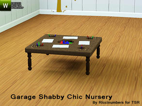 Sims 3 — Garage Shabby Chic Nursery Work Bench Blocks by TheNumbersWoman — Distressed and Cheapo Furniture. Plastering
