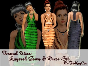 Sims 3 — Formal Wear: Layered Gown & Dress Set by drteekaycee — This set has a dress and gown both made in layers