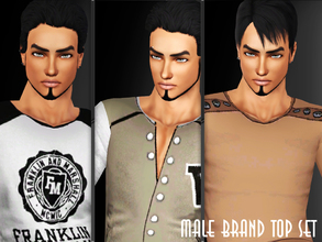 Sims 3 — Male Brand Top Set by saliwa — Sporty, Fit, Brand Top Set for your Male Sims with best quality. Enjoy.