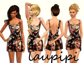 Sims 3 — Fall Dress Part 2 by laupipi2 — Not reccolorable printed dress. Enjoy :)