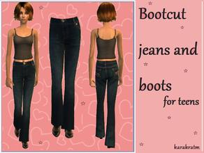 Sims 2 — Boot cut jeans by karakratm — Smart looking boot cut jeans for your female teens. Comes with smart boots too.