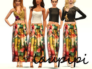 Sims 3 — Floral Printed Long Skirt by laupipi2 — Not recolorable floral printed long skirt enjoy :)