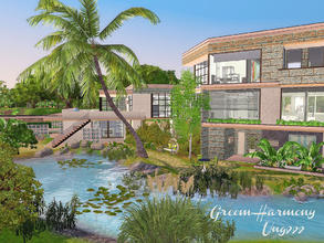 Sims 3 — Green Harmony by ung999 — A tropical serenity home which includes: Ground floor: Double garage, office, Guest