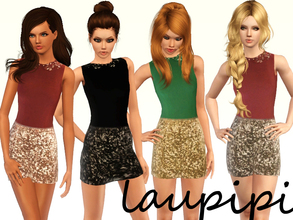 Sims 3 — Love Shine Set by laupipi2 — Love Shine Set Shine Outfit Dress with three recolorable channels: top, skirt and