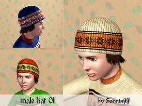 Sims 3 — Sonata77 male hat 01 by Sonata77 — Hair with hat. Teen, adult, young adult.