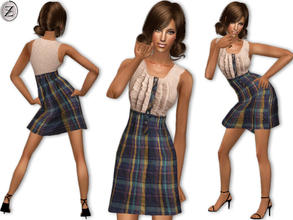 Sims 2 — 2012 Fashion Collection Part 47 by zodapop — Plaid button-down dress with a ribbed ruffled bodice and crinkle-