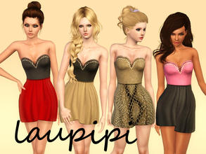 Sims 3 — Embellished Dress by laupipi2 — New embellished dress with two recolorable areas! :) Enjoy Don't claim as your