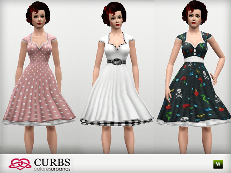 3 Rockabilly dresses set01. Colores Urbanos  3 Rockabilly dresses set01