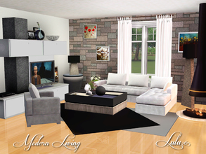 Sims 3 — Modern Living by Lulu265 — A modern living room,with a cosy fireplace, ideal for those chill winter days. Kick