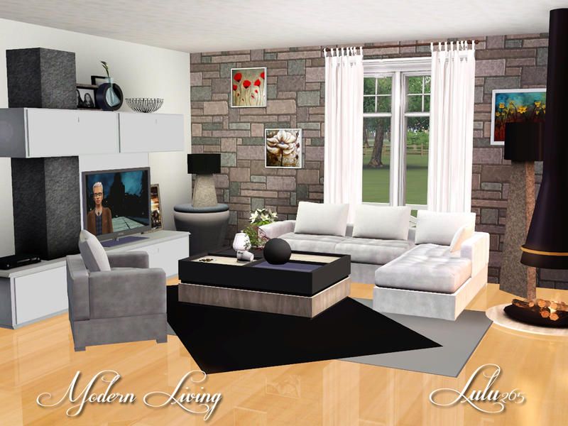 Lulu265 39 s modern living for Living room ideas sims 3
