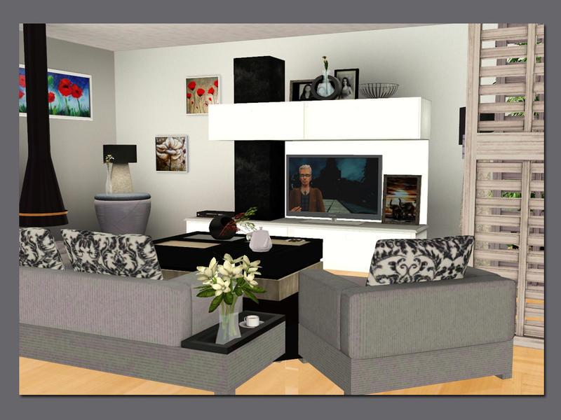 Lulu265 39 s modern living for Modern living room sims 4