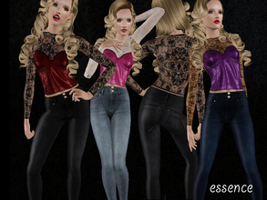 Sims 3 — Lace and Leather by simseviyo — New set with a very fashinable bustiar and skinny jeans!