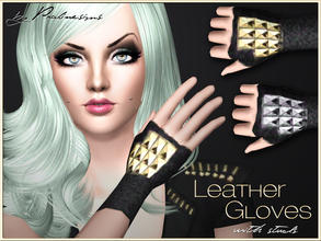 Sims 3 — Leather Gloves with Studs by Pralinesims — New studded gloves for your sims! Recolorable - 3 channels Its under