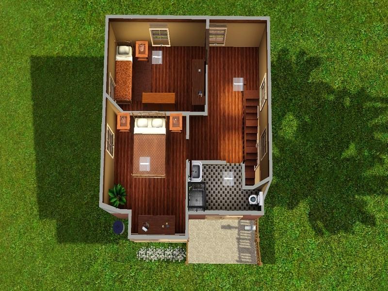 Mahalaf 39 s 10x10 2 bedroom starter house for Small starter home plans