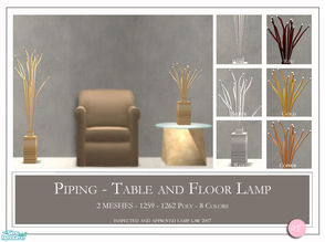 Sims 2 — Piping Lamps by DOT — Piping Lamps. Floor and Table Lamps. 2 Meshes plus recolors. Sims 2 by DOT of The Sims