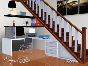 Sims 3 — Compact Office by Lulu265 — Here is a fully equipped compact office that will fit under the stairs in you sims