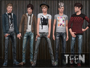 Sims 3 — TeenMaleFashionSet3 by Shojoangel — Hi, this set included shirt, sweater, pullover, jeans and shoes...enjoy and