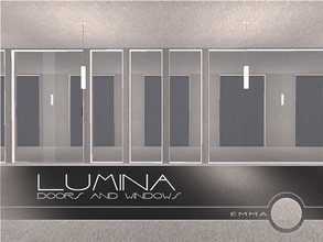 Sims 2 — Lumina Doors and Windows by Emma_O — a set of sleek glass windows, a glass door, and an arch for your minimalist