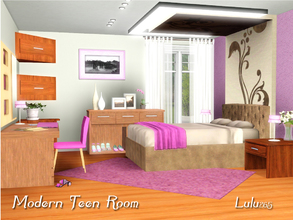 Sims 3 — Modern Teen Room by Lulu265 — Spoil your Sim teen girls with this striking modern bedroom in hot pink.
