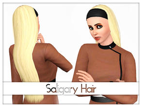 Sims 3 — Saligary Long Hair by Kiolometro — Long hair with broad bandage on forehead. One recolorable channel