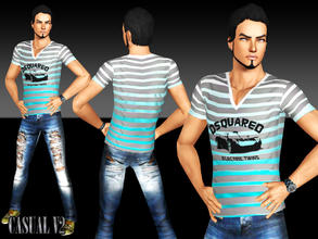 Sims 3 — Casual V2 by saliwa — Brand Clothing by Saliwa, This tshirt has 4 channel color. Color it how you want. Enjoy.