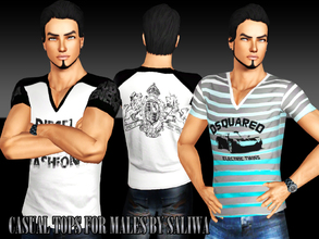 Sims 3 — Casual Tops by saliwa — Casual and Daily Tops for your male sims. All logos can be recolorable. Enjoy.