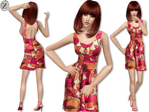 Sims 2 — 2013 Fashion Collection Part 1 by zodapop — Multicolored retro flower print dress.