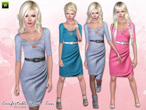 Sims 3 — Teen - Comfortable Dress by lillka — Comfortable Dress for teen girls. Everyday/Formal 3 styles/2 recolorable