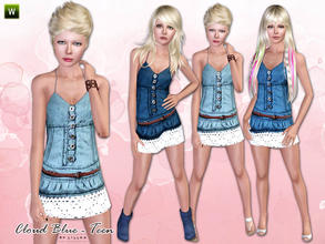 Sims 3 — Teen - Cloud Blue by lillka — Cloud Blue - denim dress for teen girls. Everyday/Formal 3 styles/recolorable I