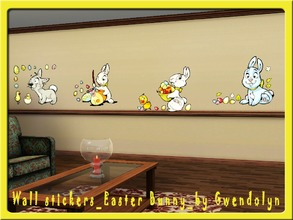 Sims 3 — GW Wall stickers Easter Bunny 4 items by Gvendolin2 — Funny Easter bunnies - harbingers of spring.Decorate all