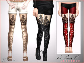 Sims 3 — Lace Corset Leggings by Pralinesims — New leggings for your sims! Recolorable - 4 channels Its under the socks