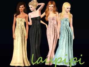 Sims 3 — Hollywood Gold by laupipi2 — New long recolorable strapless new dress. This dress has also some lentils! Your