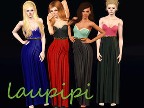 Sims 3 — For You Baby Maxi Dress by laupipi2 — New long embellished dress with two recolorable channels and an