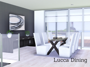 Sims 3 —  Lucca Dining by Angela — Lucca Dining, a modern room. Set contains: 3tile glasstop diningtable, chair, 3Tile