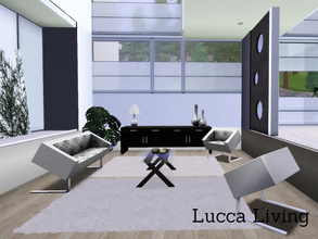 Sims 3 — Lucca Living by Angela — The Lucca Livingroom. Set contains: Loveseat, chair, coffeetable, Vases, Tablelamp, 4