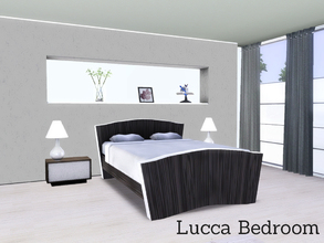 Sims 3 — Lucca Bedroom by Angela — Lucca Bedroom, modern bedroom with Chrome and wood accents. Set contains: Curtain,