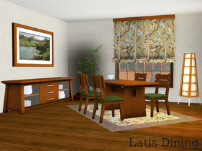 Sims 3 — Latis Dining by Angela — Latis diningroom, made to fit the Latis Bathroom. Set contains: Redone rug, textures