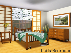 Sims 3 — Latis Bedroom by Angela — Latis Bedroom. Masterbedroom in the same style as the other Latis rooms. Set contains: