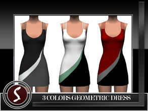 Sims 3 — 3 Colors Geometric Dress by saliwa — Special Design Geometric Dress by me only for Sims. Enjoy.