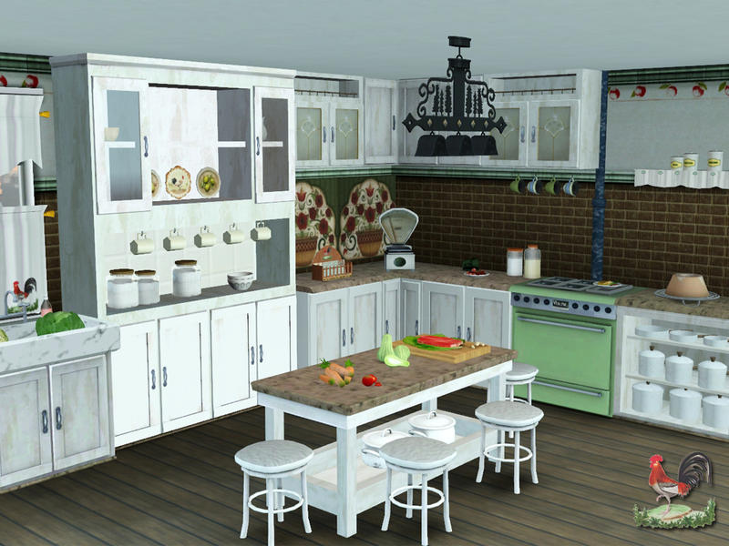 Lulu265 39 s country kitchen for Sims 2 kitchen ideas