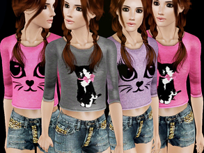 Sims 3 — Kedi Surat by simseviyo — New set with 2 cat printed tops and a studded jean!