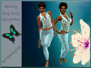 Sims 3 — Spring Zig Zag Gingham Pant Suit by drteekaycee — The birds are chirping, the bees are buzzing and the trees