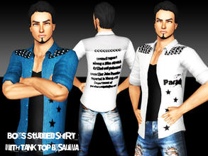 Sims 3 — Boys Studded Shirt with Tank Top by saliwa — New Design Shirt for your sims.