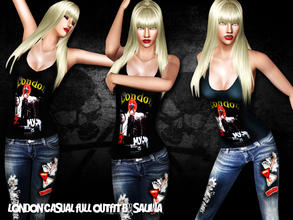 Sims 3 — London Casual Outfit by saliwa — Jeans and Tank Top with logos. Enjoy all is yours at once.