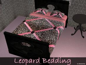 Sims 2 — Leopard Bedding by staceylynmay2 — Black and brown leopard with pink ribbon and button as bedding, brown and