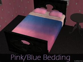 Sims 2 — Pink/Blue Bedding by staceylynmay2 — Pink to purple to blue half coloured bedding, light pink frilly sheets and