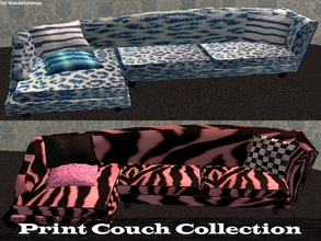 Sims 2 — Print Couch Collection by staceylynmay2 — two couches. one with blue and white leopard print, and the other pink