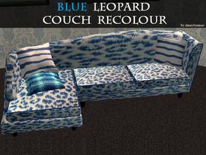 Sims 2 — Blue Leopard Couch Recolour by staceylynmay2 — Blue and white leopard print couch with 3 pillows. Thanks to