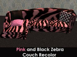 Sims 2 — Black and Pink Couch Recolour by staceylynmay2 — Black and pink zebra print couch with 3 pillows. Thanks to