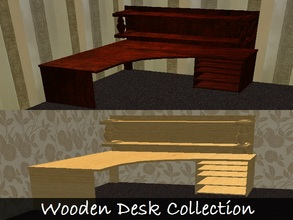 Sims 2 — Wooden Desk Collection by staceylynmay2 — Wooden desk mesh and one recolour. Dark brown wood as mesh and light